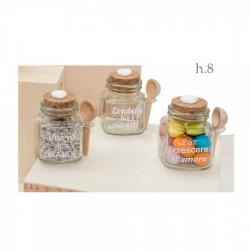 Barattolo vetro con cucchiaino legno, tappo sughero e frase. Ass 3. CM 8