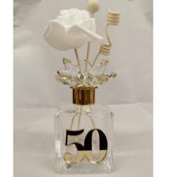 """Profumatore in vetro con applicazione """"50"""" in plexiglass specchiato argento con scatola. CM 13"""