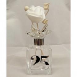 """Profumatore in vetro con applicazione """"25"""" in plexiglass specchiato argento con scatola. CM 13"""