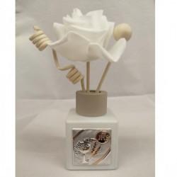 Profumatore in vetro satinato bianco con placca silver e scatola. CM 7.5