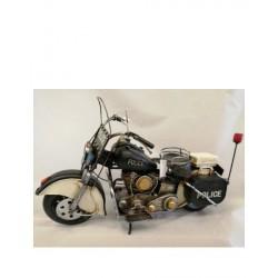 """Moto Harley """"Police"""" in metallo anticato. H 28 L 38"""
