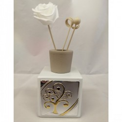 Profumatore in vetro bianco satinato con placca silver e scatola. CM 14