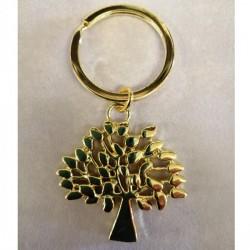 Portachiavi metallo lucido albero della vita color oro. CM 7