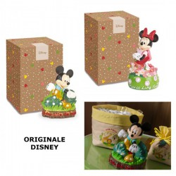 Lampada luce led con Mickey e Minnie Mouse in resina, con scatola. CM 18