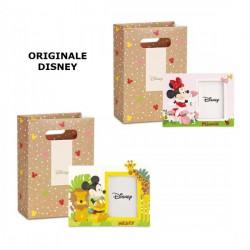 Portafoto in resina con Mickey e Minnie Mouse con shopper inclusa. CM 15x11 - Misura int CM 7x9