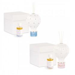 Profumatore porcellana a forma di mongolfiera con dettagli baby, completo di liquido e scatola. CM 13