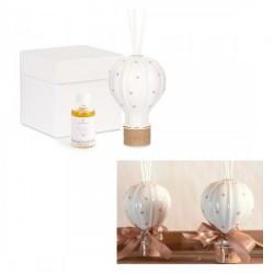 Profumatore porcellana a forma di mongolfiera con dettagli beige, completo di liquido e scat.H.14