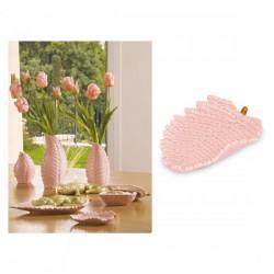 Vassoio porcellana foglia rosa. CM 14x9
