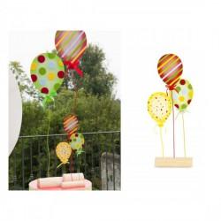 Set 3 palloncini da allestimento in feltro con base legno. CM 54