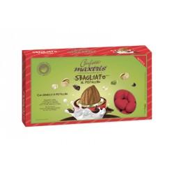 Confetti cioccomandorla con granella di pistacchio, colore ROSSO KG 1