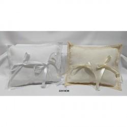 Portafedi rettangolare in tessuto in lino con applicazione tombolo. CM 22x18