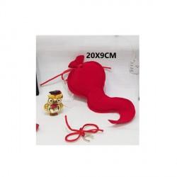 Sacchetto forma corno in velluto rosso. CM 20x9