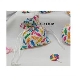 Sacchetto tessuto con pattern caramelle. CM 10x13
