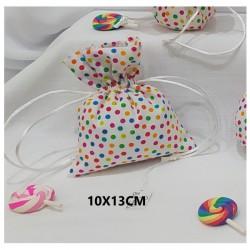 Sacchetto tessuto con pattern pois. CM 10x13