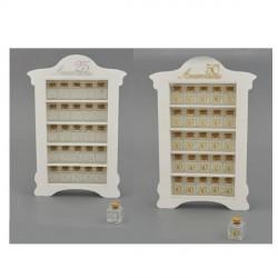Set 25 barattoli vetro con applicazione 25° o 50° e mobiletto legno. CM 35x52