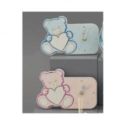 Orologio orso con dettagli plexi rosa o azzurro C/BOX L.19X13