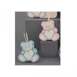 Profumatore orso con dettagli plex rosa o azzurri H.17X12 C/SCATOLA