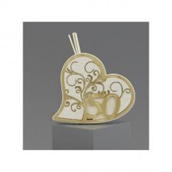 Profumatore a forma di cuore con dettagli plexi oro. 15X13 CON SCATOLA
