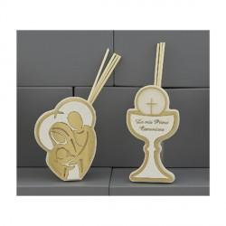 Profumatore con dettagli plexi oro con Sacra Famiglia o Comunione CON BOX H.15X8