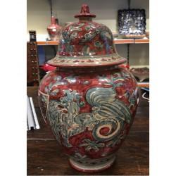 Vaso in ceramica con coperchio a campana H. cm 32- Artigianato Artistico Fatto a Mano