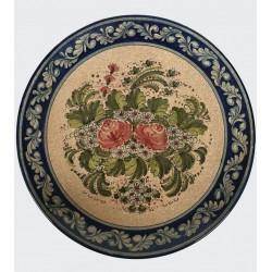 Piatto in ceramica rose rosse fondo blu cobalto Diam. cm 41 - Artigianato Artistico Fatto a Mano