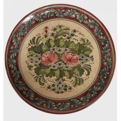 Piatto in ceramica rose rosse su fondo rosso rubino Diam. cm 34 - Artigianato Artistico Fatto a Mano