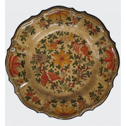 Piatto in ceramica con ricamo a fiori Diam. cm 19 - Artigianato Artistico Fatto a Mano