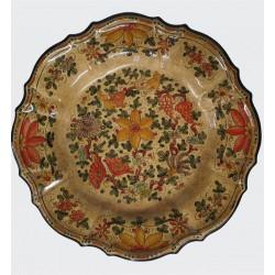 Piatto in ceramica con ricamo a fiori Diam. cm 27- Artigianato Artistico Fatto a Mano
