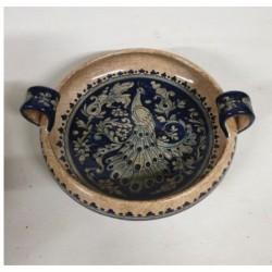 Centrotavola in ceramica con manici Diam. cm 25- Artigianato Artistico Fatto a Mano
