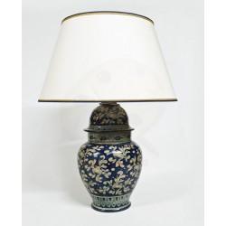 Lampada in ceramica a vaso blu cobalto con paralume H. cm 36+5 - Artigianato Artistico Fatto a Mano