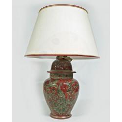 Lampada in ceramica a vaso rosso rubino con paralume H. cm 39+5  - Artigianato Artistico Fatto a Mano