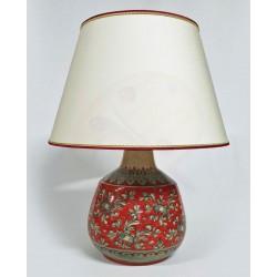 Lampada in ceramica rosso corallo con paralume H. cm 26+5 - Artigianato Artistico Fatto a Mano