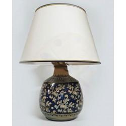 Lampada in ceramica blu cobalto con paralume H. cm 26+5 - Artigianato Artistico Fatto a Mano