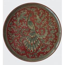 Piatto in ceramica con pavone rosso rubino Diam. cm 34- Artigianato Artistico Fatto a Mano