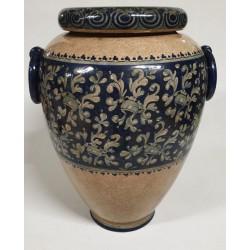 Porta ombrelli in ceramica Orcio blu cobalto H. cm 54 - Artigianato Artistico Fatto a Mano