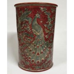 Porta ombrelli in ceramica cilindrico rosso rubino H. cm 43- Artigianato Artistico Fatto a Mano