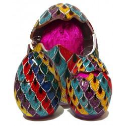 Uovo di Pasqua aperto/chiuso in ceramica di Deruta - decori diversi - altezza 10cm - Artigianato Artistico Fatto a Mano