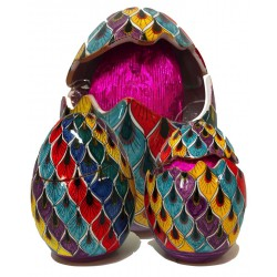 Uovo di Pasqua aperto/chiuso in ceramica di Deruta - decori diversi - altezza 15cm - Artigianato Artistico Fatto a Mano