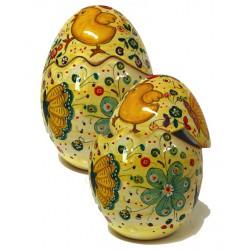 Uovo di Pasqua aperto/chiuso in ceramica di Deruta - decoro pasquale - altezza 20cm