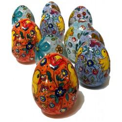 Uovo di Pasqua aperto/chiuso in ceramica di Deruta - decori pasquali - altezza 10cm - Artigianato Artistico Fatto a Mano
