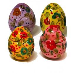 Uovo di Pasqua chiuso in ceramica di Deruta - diversi a fiori - altezza 5cm - Artigianato Artistico Fatto a Mano