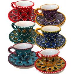 Tazza da caffè e piattino in ceramica di Deruta - decori diversi - altezza 6cm - Artigianato Artistico Fatto a Mano