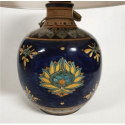Lampada con paralume -H cm 35+5- in ceramica blu cobalto decoro orchidea - Artigianato Artistico Fatto a Mano