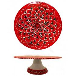 Alzata porta dolce in ceramica di Deruta - decori diversi - diametro cm 25 - Artigianato Artistico Fatto a Mano