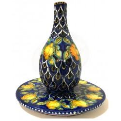 Servizio limoncello con piatto in ceramica di Deruta - decori diversi - altezza cm 18 - Artigianato Artistico Fatto a Mano