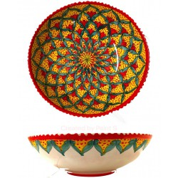 Insalatiera in ceramica di Deruta - decori diversi - diametro cm 25 - Artigianato Artistico Fatto a Mano
