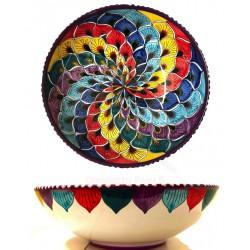 Insalatiera in ceramica di Deruta - decori diversi - diametro cm 35 - Artigianato Artistico Fatto a Mano