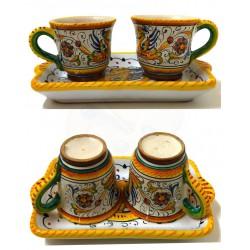 Set tazzine da caffè e vassoio Deruta - decoro raffaellesco - dimensioni cm  9x13 - Artigianato Artistico Fatto a mano