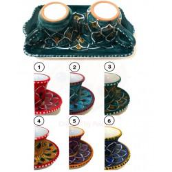 Set tazzine da caffè e vassoio in ceramica Deruta - decori diversi - dim. cm  9x13 - Artigianato Artistico Fatto a Mano