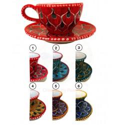 Tazza da the/cappuccino,piattino in ceramica di Deruta - decori diversi - diametro cm  10-16 -Artigianato Artistico fatto a Mano